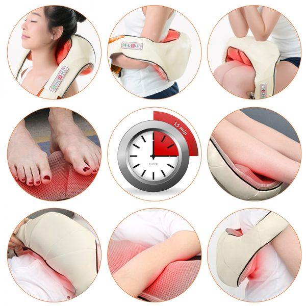 DR. CHARLES Heated Shiatsu Neck Massager w/ Infrared Kneading 3