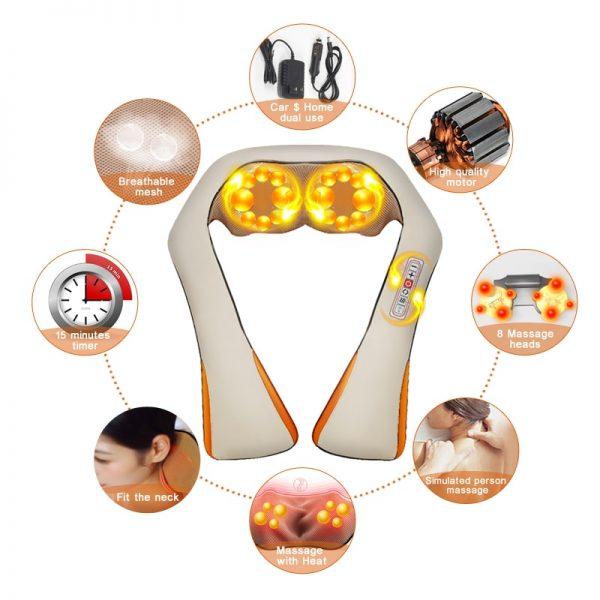 DR. CHARLES Heated Shiatsu Neck Massager w/ Infrared Kneading 4